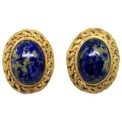 Circa 1950s Chinese Gold-Plated Sterling Silver Blue Sodalite Clip-Back Earrings