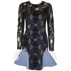 New Daring David Koma Black Cut Flock Silk Long Sleeve W Light Blue Flare Dress