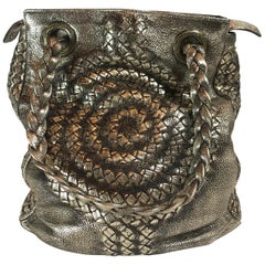 Bottega Veneta Metallic Intrecciato Illusion Hobo
