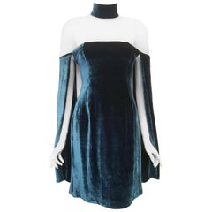 Marios Schwab Teal Velvet Medieval Style 2013 Fall/Winter London Collection NWT