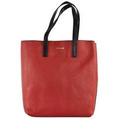Roberto Cavalli Women's Red Grained Leather Black Strap Shoulder Bag
