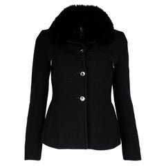 Prada Black Wool Jacket W/ Detachable Fur Collar Sz 40
