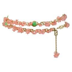 Vintage Gianni Versace 1993 Pink Floral Charm & Green Medusa Greco Belt 1993