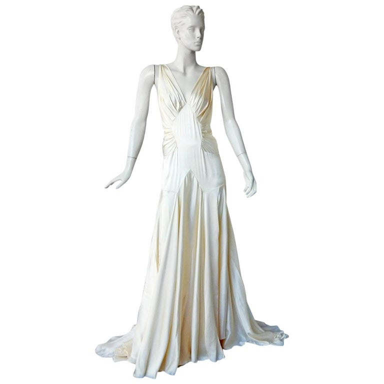 Rochas 1930's Inspired Harlowesque Bias Cut Dress Gown  New! For Sale