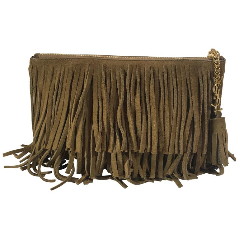 Saint Lau Monogram Medium Suede Fringe Clutch Bag For