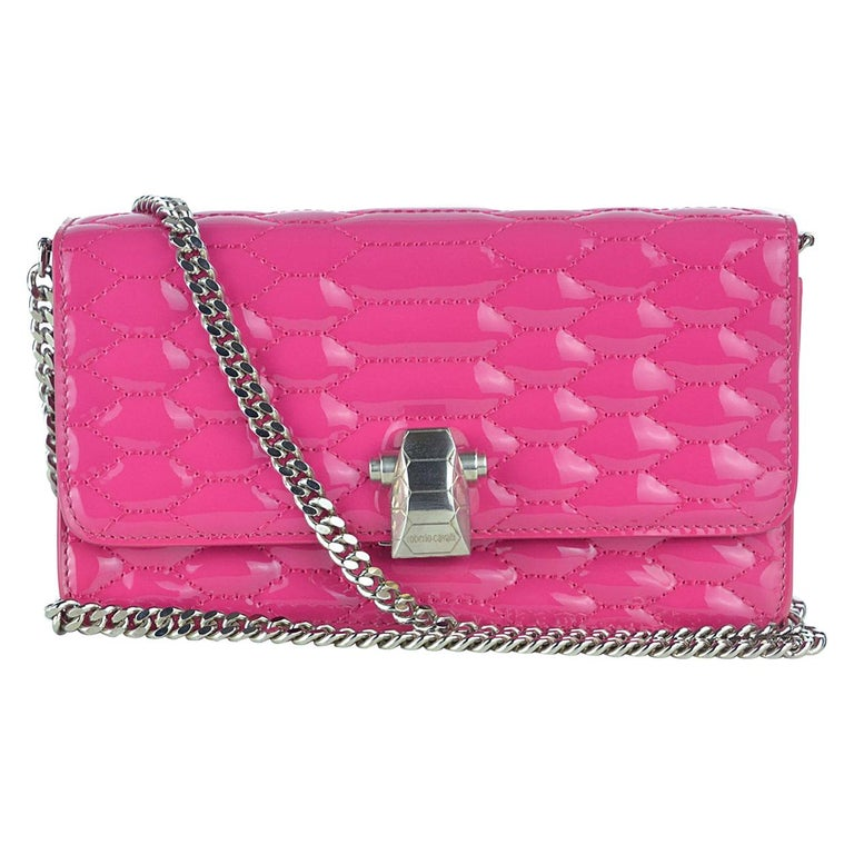 Roberto Cavalli Women s Pink Patent Leather Quilted Stitched Handbag For  Sale fc9591f7e