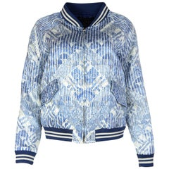 Marc Jacobs NWT Blue/White Nylon Glitter Bomber Jacket Sz M