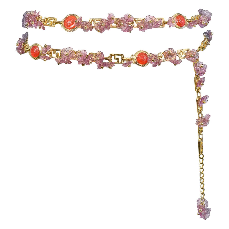 Vintage Gianni Versace 1993 Lavender Floral Charm & Red Medusa Greco Belt