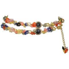 Vintage Gianni Versace 1993 Multicolor Floral Charm & Black Medusa Greco Belt