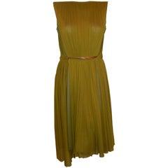 Brand New Mesmerizing Marios Schwab Moss Green Column Pleated Dress