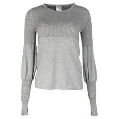 Chanel Grey Cashmere/Cotton Glitter Long Balloon Sleeve Sweater Sz 36