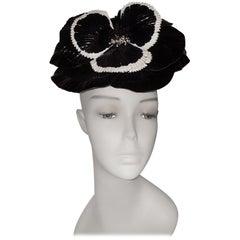 Brand New Kokin Black and Ivory Vinyl Flower Fascinator