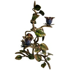 Elegant Jay Strongwater Polychrome Enamel Candelabra with Pomegranate and Flora