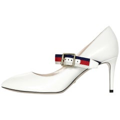 Gucci NEW White Leather Sylvie Pumps w. Red/Blue Grosgrain-Trimmed Web Sz 37.5