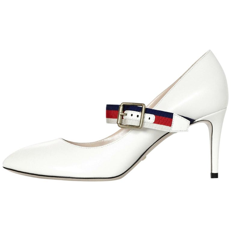 56cb83e9a Gucci NEW White Leather Sylvie Pumps w. Red/Blue Grosgrain-Trimmed Web Sz