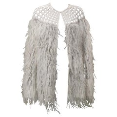White Organza Beaded Cape with Ostrich Feathers
