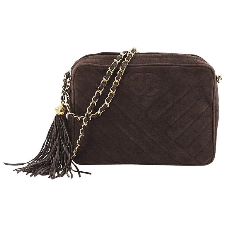 4c601f54132d Chanel Vintage Camera Bag Chevron Suede Small at 1stdibs