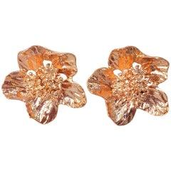 Oscar de la Renta Bold Rose Gold Flower Button Clip on Fashion Earrings