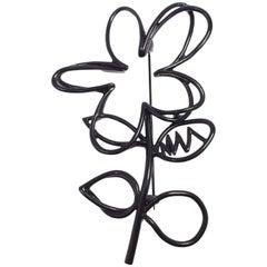 Oscar de la Renta Botanical Scribble Flower Brooch Pin in Black Enamel