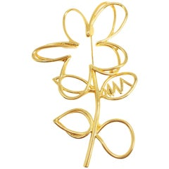 Oscar de la Renta Botanical Scribble Flower Brooch Pin in Gold
