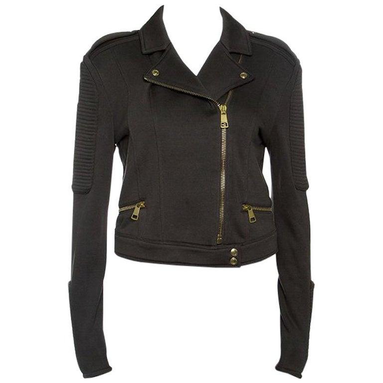 Burberry Brit Olive Green Cotton Cropped Biker Jacket M For Sale
