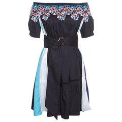 Peter Pilotto Navy Blue Paneled Cotton Poplin Lace Trim Off Shoulder Belted Dres