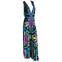 Emilio Pucci Colorful Kaleidoscope Pattern Halter Evening Dress