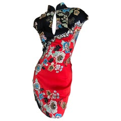 Roberto Cavalli Spring 2003 Silk Cheongsam Style Floral Dress