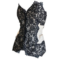 Yves Saint Laurent 70's Rive Gauche Rare Black Lace on Linen Corset Top