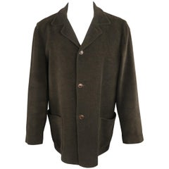 ERMENEGILDO ZEGNA 42 Olive Textured Cotton Velvet Jacket