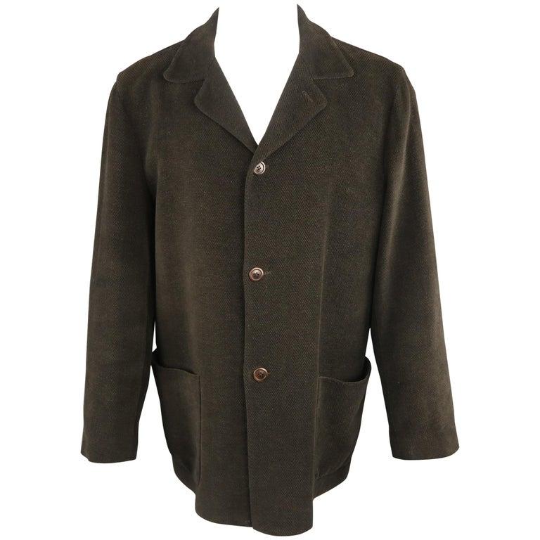 54638c1f ERMENEGILDO ZEGNA 42 Olive Textured Cotton Velvet Jacket