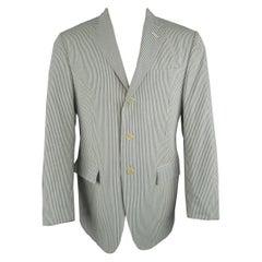 RALPH LAUREN 40 Regular Cream & Blue Striped Seersucker Notch Lapel Sport Coat