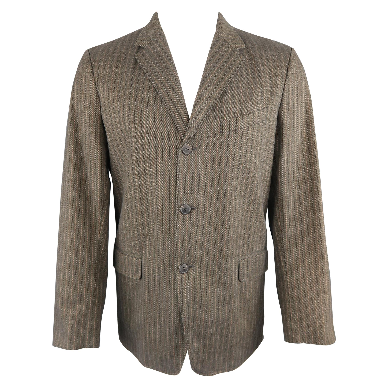 DRIES VAN NOTEN 38 Taupe Striped Herringbone Cotton Notch Lapel Sport Coat