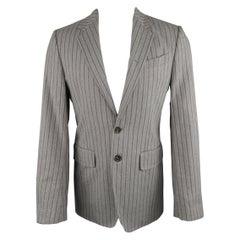 ANN DEMEULEMEESTER 38 Light Gray Striped Cotton Blend Notch Lapel Sport Coat