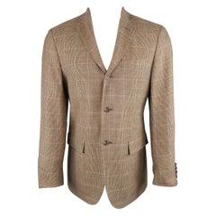 RALPH LAUREN 38 Tan Pink & Blue Window Pane Silk / Wool Sport Coat