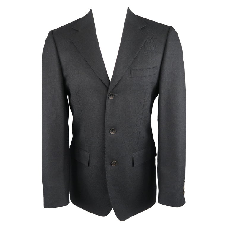 GUCCI 36 Navy Woven Wool / Mohair Notch Lapel Sport Coat For Sale