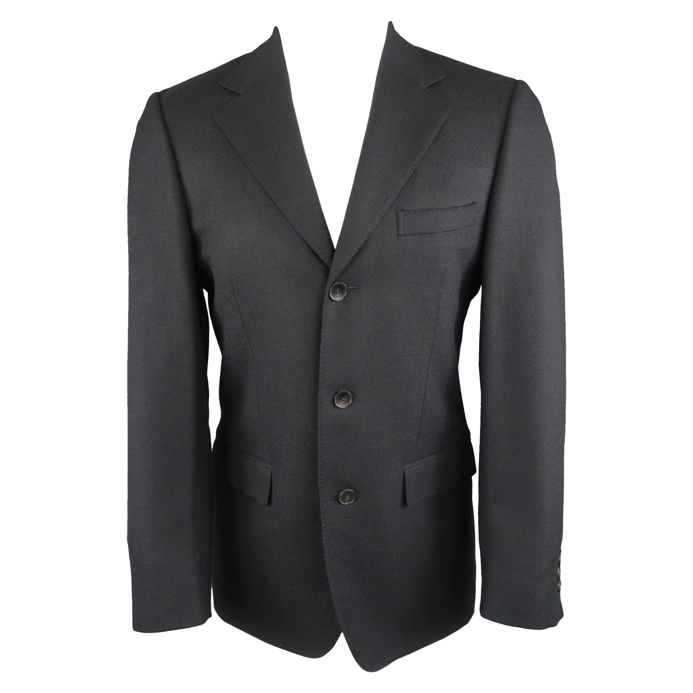 GUCCI 36 Navy Woven Wool / Mohair Notch Lapel Sport Coat