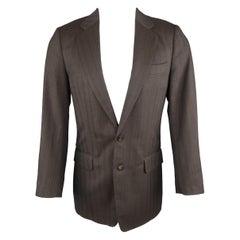 DRIES VAN NOTEN 36 Regular Brown Stripe Wool Blend Sport Coat
