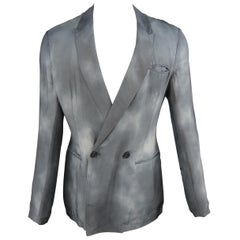 EMPORIO ARMANI 40 Slate Dyed Rayon Peak Lapel Double Breasted Jacket