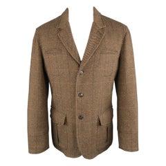 LUCIANO BARBERA 38 Brown Window Pane Wool Blend Notch Lapel Sport Coat