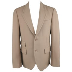 PRADA 42 Tan Solid Wool Notch Lapel Two Button Sport Coat