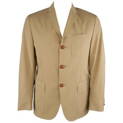 RALPH LAUREN 42 Khaki Solid Cotton Braided Leather Button Sport Coat