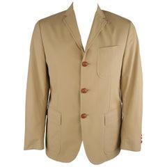 RALPH LAUREN 42 Khaki Solid Cotton Braided Leather Button Sport Coat
