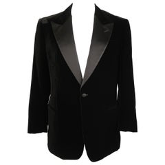 ARMANI COLLEZIONI 44 Black Velvet Satin Peak Lapel Sport Coat