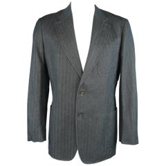 VERSACE COLLECTION 46 Long Indigo Herringbone Cotton / Linen Sport Coat