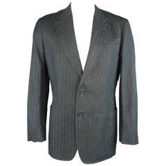 VERSACE COLLECTION 46 Long Indigo Herringbone Cotton / Linen Sport Coat