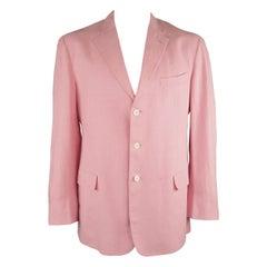 RALPH LAUREN 44 Long Pink Linen Notch Lapel 3 Button Sport Coat