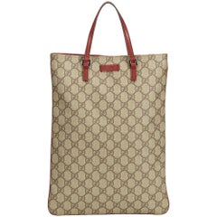 Gucci Brown x Beige x Red Guccissima Supreme Coated Canvas Tote Bag