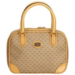 Gucci Brown x Beige Old Gucci Canvas Handbag