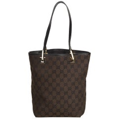 Gucci Brown x Dark brown x Black Guccissima Canvas Tote